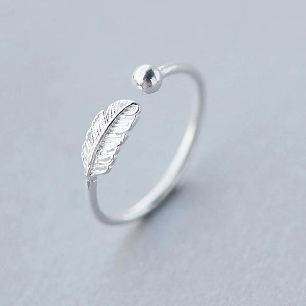 Sterling Silver Feather Ring - 925 Real Silver Ring - Classic Silver Ring - Adjustable Cocktail Ring Lux & Rose