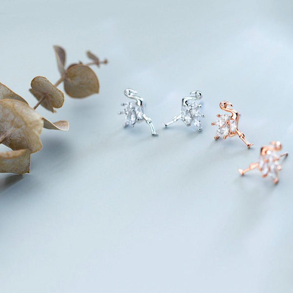 Sterling Silver Flamingo Earrings - 925 Stud Earrings - 925 Real Silver Earrings - Playful Silver Earrings Lux & Rose