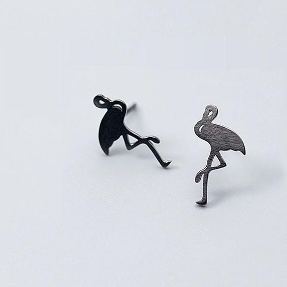 Sterling Silver Flamingo Earrings - 925 Stud Earrings - 925 Real Silver Earrings - Playful Silver Earrings Lux & Rose Default Title