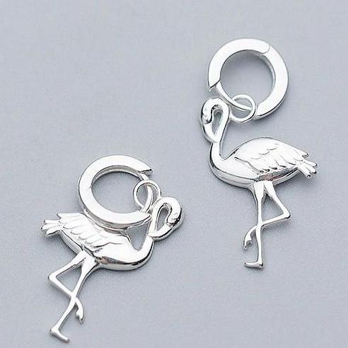 Sterling Silver Flamingo Hoop Earrings - Dangle Hoop Earrings - 925 Real Silver Earrings - Playful Silver Earrings Lux & Rose