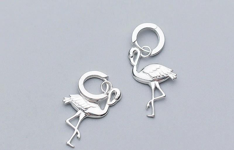 Sterling Silver Flamingo Hoop Earrings - Dangle Hoop Earrings - 925 Real Silver Earrings - Playful Silver Earrings Lux & Rose Default Title