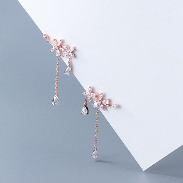 Sterling Silver Floral Cuff Earrings - 925 Real Silver Earrings - Playful Silver Earrings Lux & Rose Rose gold