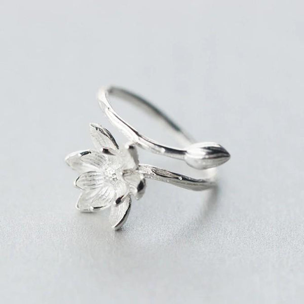 Sterling Silver Flower Blossom Lotus Wrap Ring - 925 Real Silver Flower Ring - Classic Silver Ring - Adjustable Blossom Ring Lux & Rose