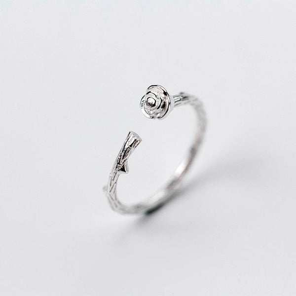 Sterling Silver Flower Branch Opening Ring - 925 Real Silver Rings - Classic Silver Rings Lux & Rose