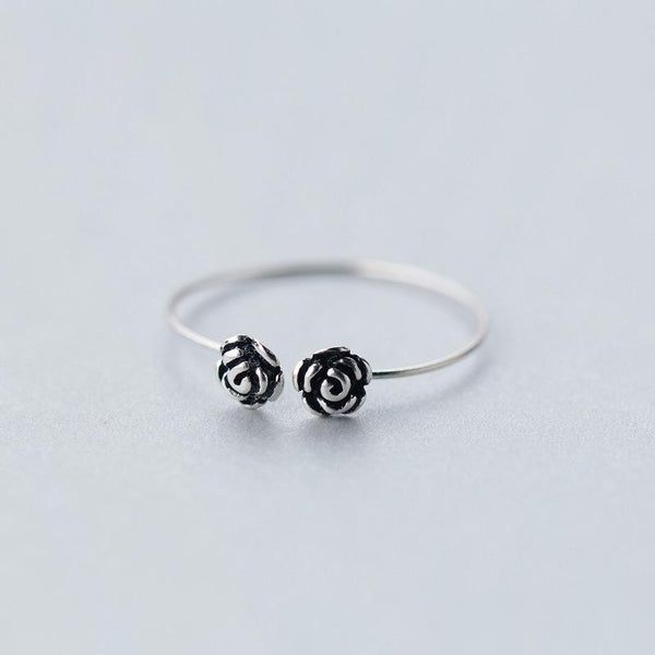 Sterling Silver Flower Cocktail Ring - 925 Real Silver Ring - Classic Silver Ring - Adjustable Cocktail Ring Lux & Rose