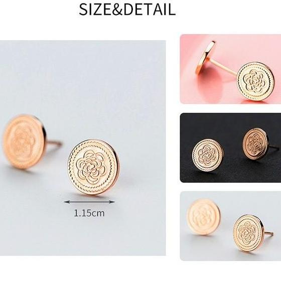 Sterling Silver Flower Coin Earrings - 925 Stud Earrings - 925 Real Silver Earrings - Playful Silver Earrings Lux & Rose