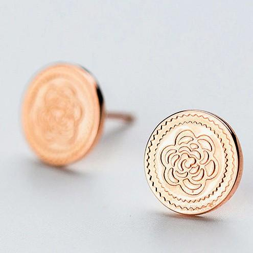 Sterling Silver Flower Coin Earrings - 925 Stud Earrings - 925 Real Silver Earrings - Playful Silver Earrings Lux & Rose Default Title