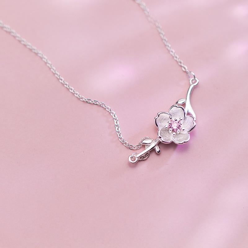Sterling Silver Flower CZ Necklace - 925 Real Silver Necklace - Classic Silver Necklace Lux & Rose