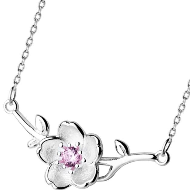 Sterling Silver Flower CZ Necklace - 925 Real Silver Necklace - Classic Silver Necklace Lux & Rose Default Title