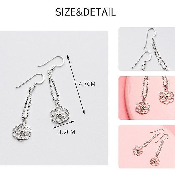 Sterling Silver Flower Dangle Earrings - Long Dangle Earrings - 925 Real Silver Earring - Playful Silver Earrings Lux & Rose