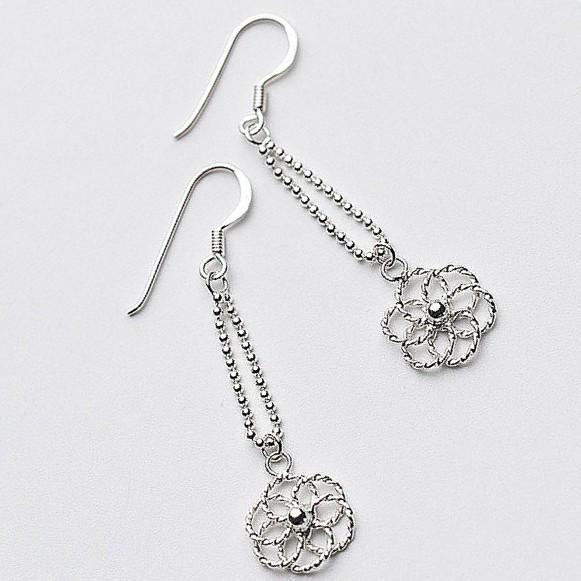 Sterling Silver Flower Dangle Earrings - Long Dangle Earrings - 925 Real Silver Earring - Playful Silver Earrings Lux & Rose Default Title