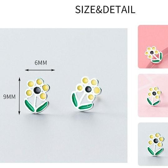 Sterling Silver Flower Earrings - 925 Stud Earrings - 925 Real Silver Earrings - Playful Silver Earrings Lux & Rose