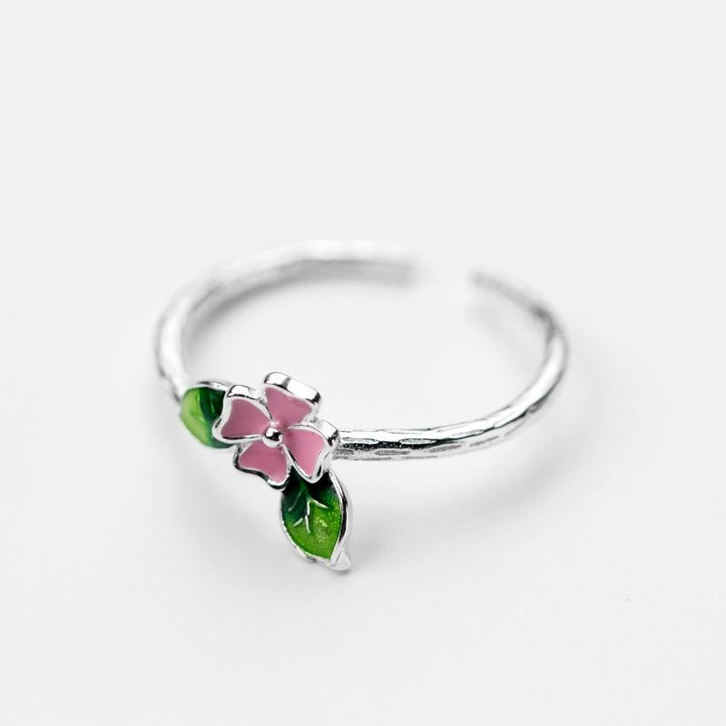 Sterling Silver Flower Leaf Branch Ring - 925 Real Silver Ring - Classic Silver Ring - Adjustable Cocktail Ring Lux & Rose