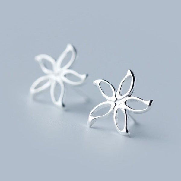 Sterling Silver Flower Stud Earrings - 925 Stud Earring - 925 Real Silver Earrings - Charming Silver Earrings Lux & Rose Default Title