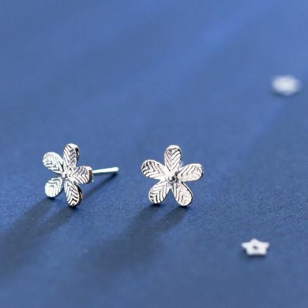 Sterling Silver Flower Stud Earrings - 925 Stud Earrings - 925 Real Silver Earrings - Playful Silver Earrings Lux & Rose