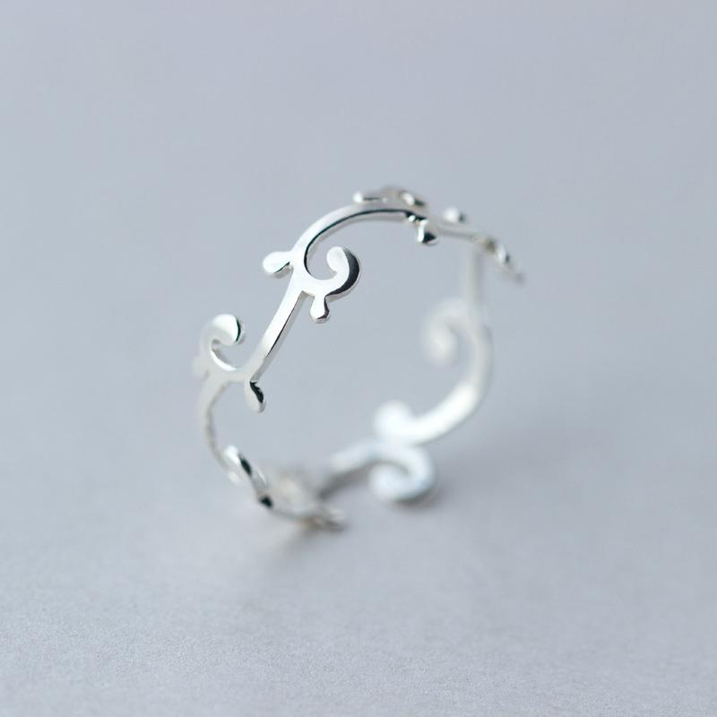 Sterling Silver Flower Tendril Ring - 925 Real Silver Cute Floral Ring - Adjustable Silver Branch Rings Lux & Rose