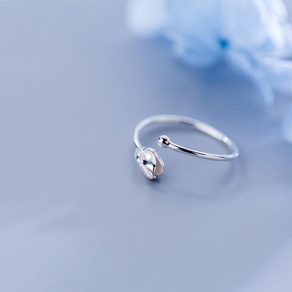Sterling Silver Flower Tulip Ring - 925 Real Silver Ring - Classic Silver Blossom Ring - Adjustable Cocktail Ring Lux & Rose