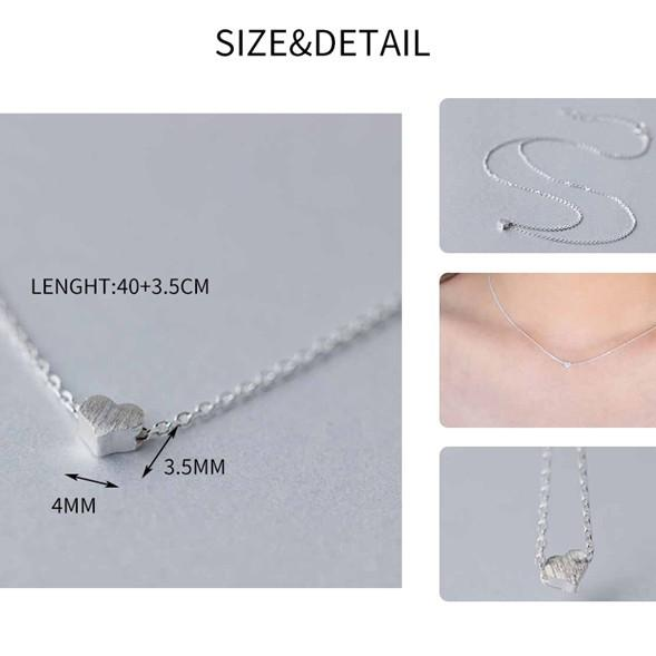 Sterling Silver Frost Heart Necklace - 925 Real Silver Necklace - Classic Silver Necklace Lux & Rose
