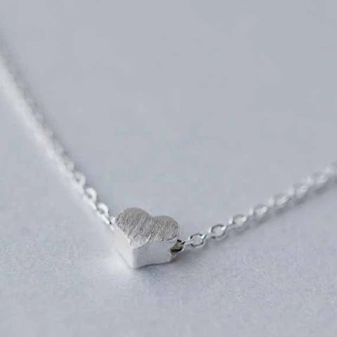 Sterling Silver Frost Heart Necklace - 925 Real Silver Necklace - Classic Silver Necklace Lux & Rose Default Title