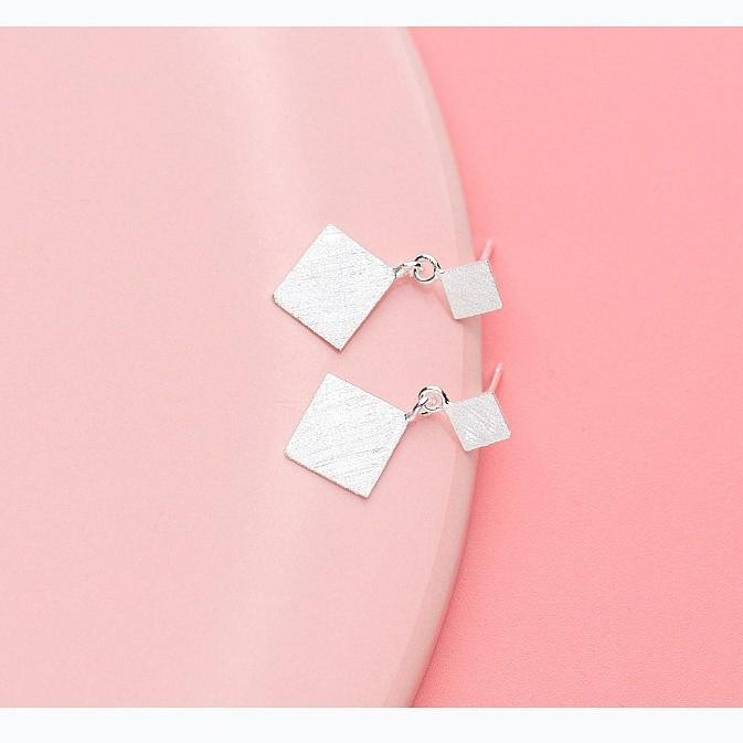 Sterling Silver Frost Square Drop Earrings - 925 Stud Earrings - 925 Real Silver Earrings - Playful Silver Earrings Lux & Rose