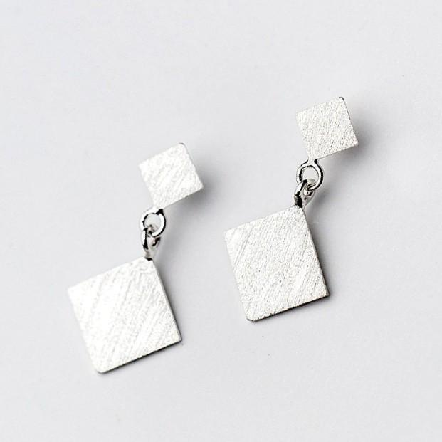 Sterling Silver Frost Square Drop Earrings - 925 Stud Earrings - 925 Real Silver Earrings - Playful Silver Earrings Lux & Rose Default Title