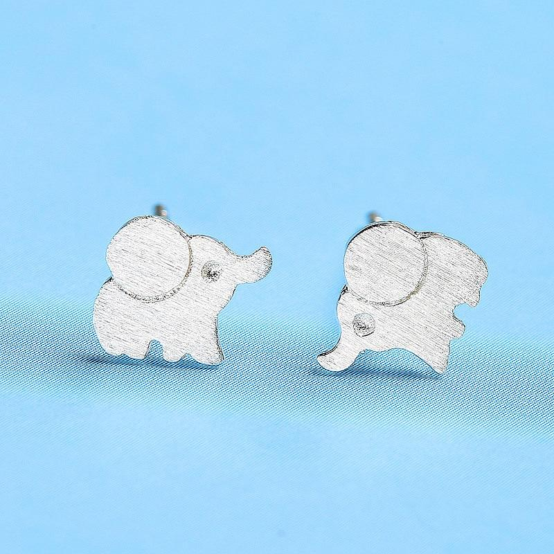 Sterling Silver Frosted Elephant Earrings - 925 Stud Earrings - 925 Real Silver Earrings - Playful Silver Earrings Lux & Rose