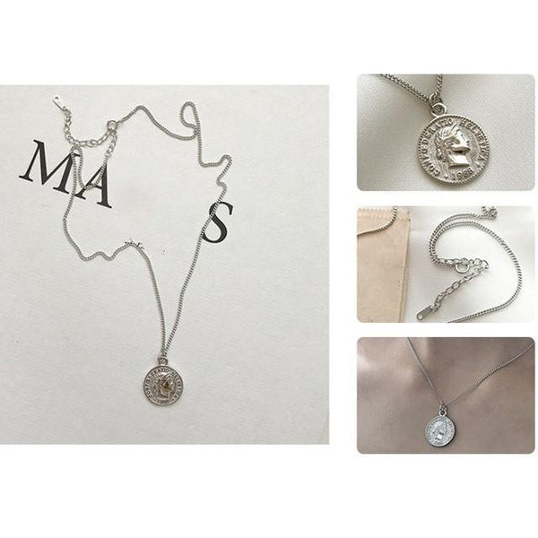 Sterling Silver Genuine Coin Pendant Necklace - 925 Real Silver Necklace - Classic Silver Necklace - Dollar Coin Necklace Lux & Rose