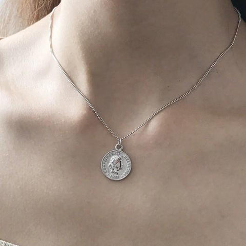 Sterling Silver Genuine Coin Pendant Necklace - 925 Real Silver Necklace - Classic Silver Necklace - Dollar Coin Necklace Lux & Rose Default Title