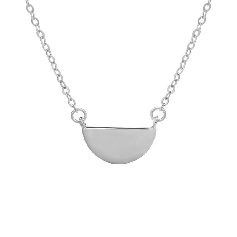 Sterling Silver Geometric Semicircle Pendant Necklace - 925 Real Silver Necklace - Minimalist Layering Necklace Lux & Rose Silver
