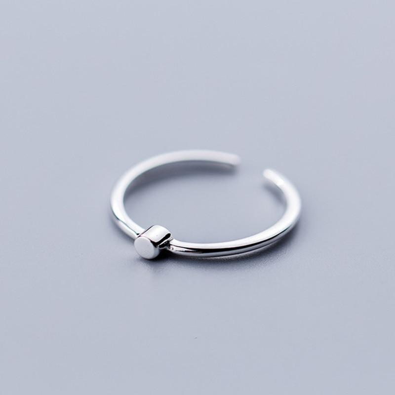 Sterling Silver Geometric Tiny Cylinder Ring - 925 Real Silver Ring - Classic Silver Ring - Adjustable Cocktail Ring Lux & Rose
