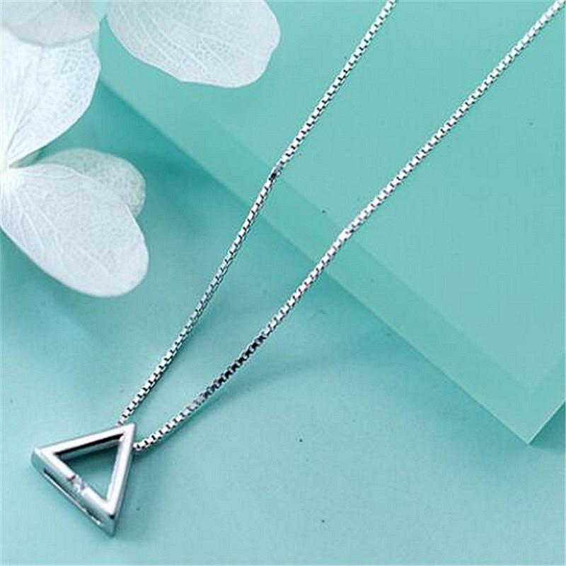 Sterling Silver Geometric Triangle Necklace - 925 Real Silver Necklace - Classic Silver Necklace Lux & Rose