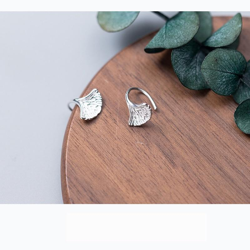 Sterling Silver Ginkgo Earrings - Ginkgo Ear Studs - Sterling Silver Leaf Stud Earrings - Tiny Leaf Ear Studs Lux & Rose