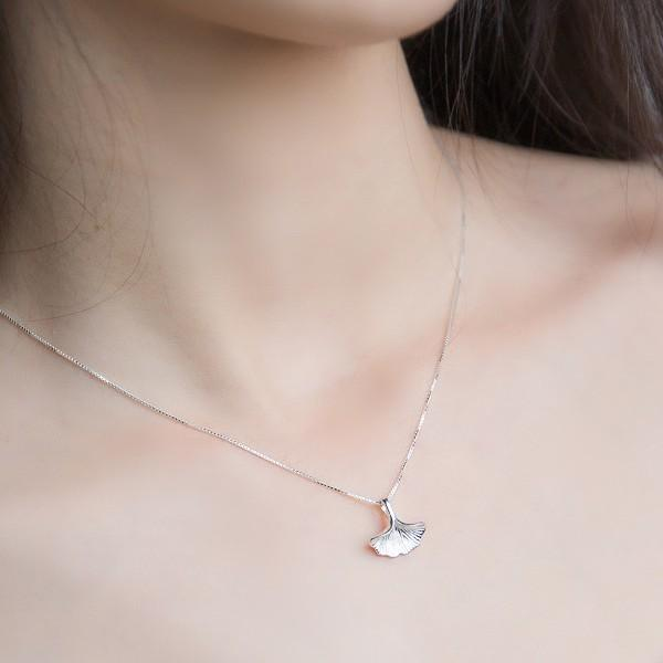Sterling Silver Ginkgo Leaf Necklace - 925 Real Silver Necklace - Classic Silver Necklace Lux & Rose