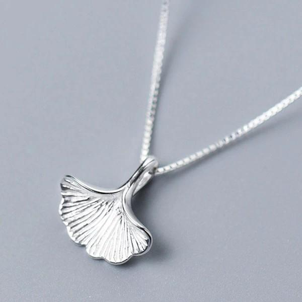 Sterling Silver Ginkgo Leaf Necklace - 925 Real Silver Necklace - Classic Silver Necklace Lux & Rose Default Title