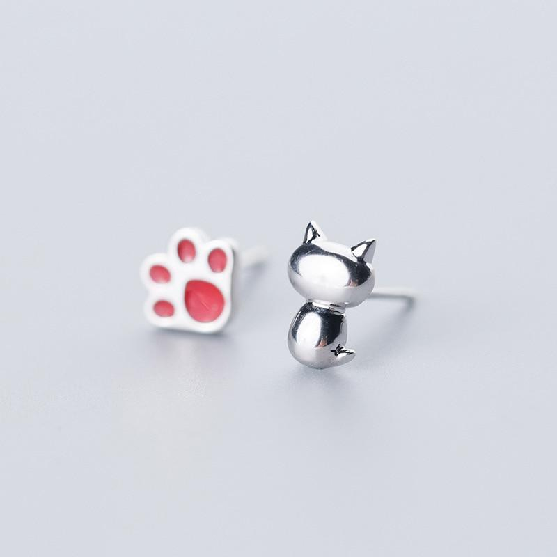 Sterling Silver Glaze Cute Claw Cat Stud Earrings - 925 Real Silver Earrings - Playful Silver Earrings Lux & Rose