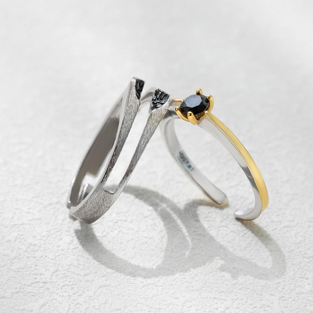Sterling Silver Gold Black Crystal Couple Rings - 925 Real Silver Couple Rings - Adjustable Ring Set Lux & Rose