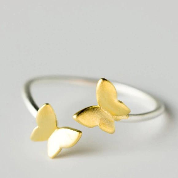 Sterling Silver Gold Butterfly Ring - 925 Real Silver Ring - Classic Silver Ring Lux & Rose