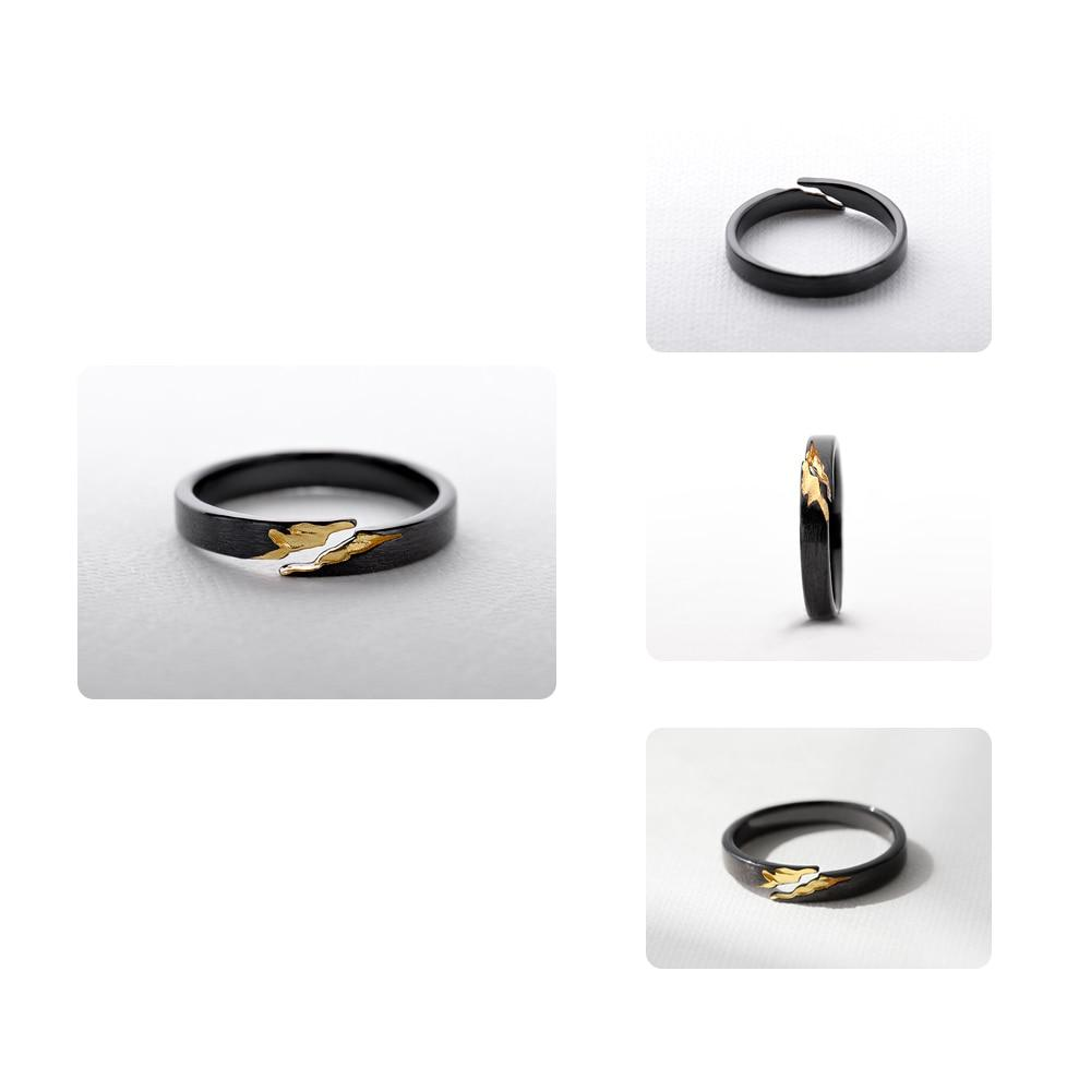 Sterling Silver Gold Crack Black Ring - 925 Real Silver Ring - Classic Silver Ring - Adjustable Cocktail Ring Lux & Rose