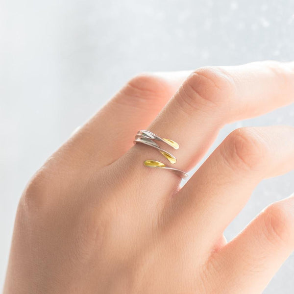 Sterling Silver Gold Dipped Wrap Ring - 925 Real Silver Ring - Adjustable Silver Ring Lux & Rose