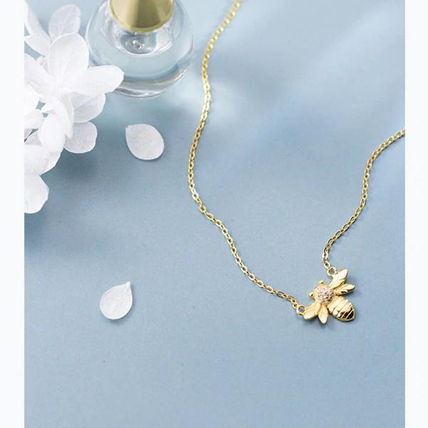 Sterling Silver Gold Insects Bee Necklace - 925 Real Silver Necklace - Classic Silver Necklace Lux & Rose