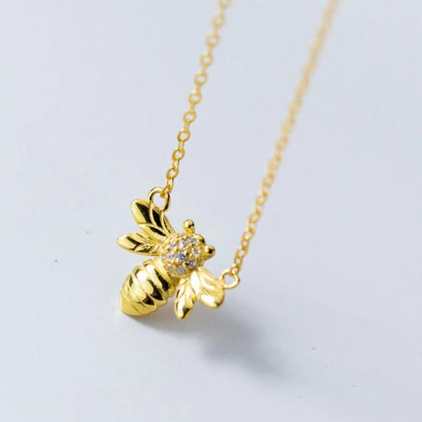 Sterling Silver Gold Insects Bee Necklace - 925 Real Silver Necklace - Classic Silver Necklace Lux & Rose Default Title