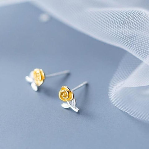 Sterling Silver Gold Rose Floral Stud Earrings - 925 Stud Earrings - 925 Real Silver Earrings - Rose Flower Earrings - Cute Rose Earrings - Playful Silver Earrings Lux & Rose