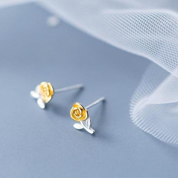 c26867f36 Sterling Silver Gold Rose Floral Stud Earrings - 925 Stud Earrings - 925  Real Silver Earrings ...