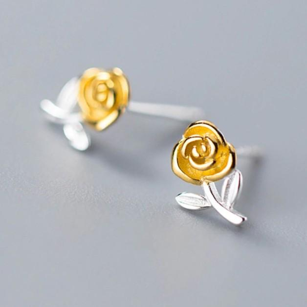 Sterling Silver Gold Rose Floral Stud Earrings - 925 Stud Earrings - 925 Real Silver Earrings - Rose Flower Earrings - Cute Rose Earrings - Playful Silver Earrings Lux & Rose Default Title