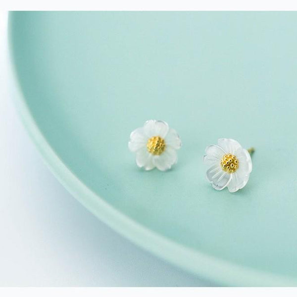 Sterling Silver Gold Shell Flower Stud Earrings - 925 Stud Earrings - 925 Real Silver Stud Earrings - Shell Flower Earrings - White Shell Gold Flower Earrings - Flower Stud Earrings Lux & Rose