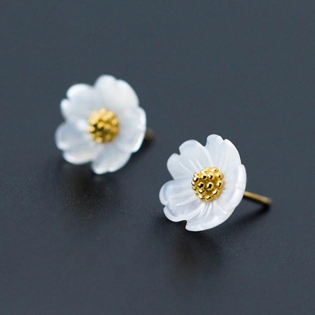 Sterling Silver Gold Shell Flower Stud Earrings - 925 Stud Earrings - 925 Real Silver Stud Earrings - Shell Flower Earrings - White Shell Gold Flower Earrings - Flower Stud Earrings Lux & Rose Default Title