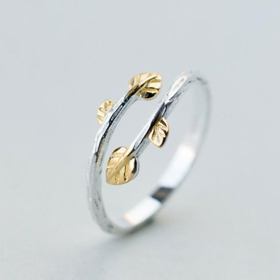 Sterling Silver Golden Leaves Wrap Ring - 925 Real Silver Ring - Adjustable Silver Rings - Two Tone Leaf Ring Lux & Rose