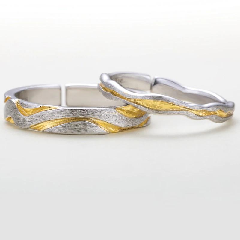 Sterling Silver Golden Waves Couple Rings - 925 Real Silver Couple Rings Lux & Rose