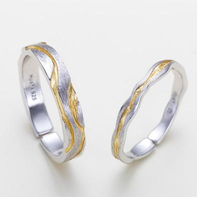 Sterling Silver Golden Waves Couple Rings - 925 Real Silver Couple Rings Lux & Rose pair Resizable