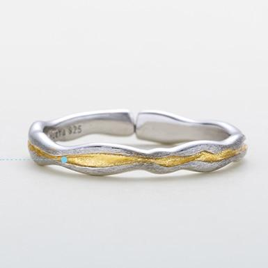 Sterling Silver Golden Waves Couple Rings - 925 Real Silver Couple Rings Lux & Rose small one Resizable